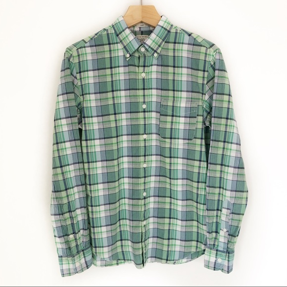 J. Crew Other - J Crew Green Plaid Oxford Shirt Size M